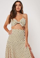 Missguided Nude Co Ord Polka Dot Tie Front Cami Crop Top