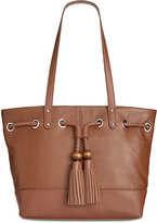 Giani Bernini Pebble Leather Tassel Tote, Only at Macy's