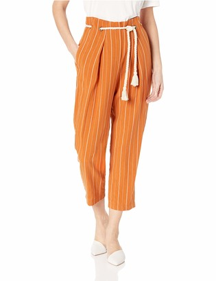 ASTR the Label Women's Neo High Waisted Pleated Pinstripe Cropped Pants