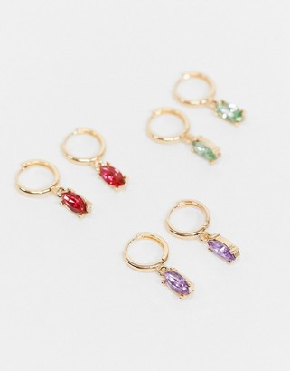 ASOS DESIGN pack of 3 hoop earrings with colour jewel charm in gold tone