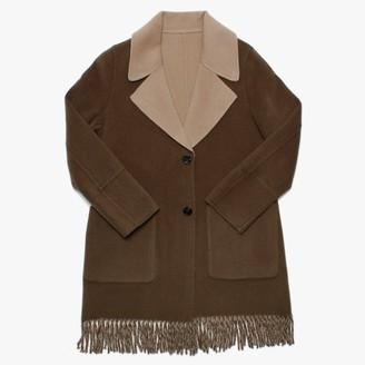 Oakwood Fabienne Khaki & Beige Reversible Fringed Coat