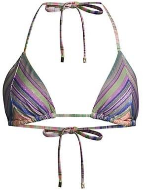 PQ Metallic Striped Triangle Bikini Top