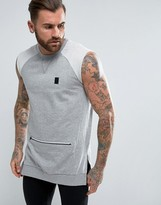 Religion Trail Sleeveless Sweatshirt with Zip Detail Pocket