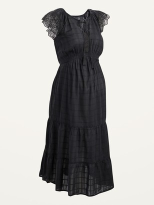 Old Navy Maternity Waist-Defined Crochet-Sleeve Tie-Neck Midi Dress