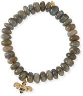 Sydney Evan 10mm Smooth Labradorite Beaded Bracelet with Diamond & Sapphire Bee Charm