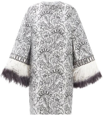 Andrew Gn Embellished-cuff Metallic Fil-coupe Mini Dress - Silver