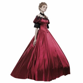 Hooudo Women HOOUDO Dresses for Women Medieval 50's Halloween Gothic Lace Off The Shoulder Short SleeveSlim Fit Elegant Ball Gowns Maxi Dress for Prom Party Red
