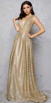 Mac Duggal Plunging Embroidered Sequin Mesh A-line Evening Gown