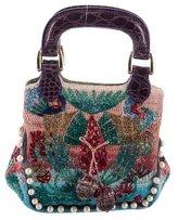 Fendi Crocodile-Trimmed Beaded Evening Bag