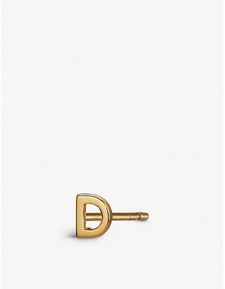 Selfridges D initial 9ct gold stud earring