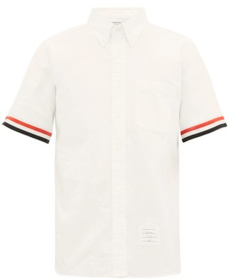 Thom Browne Tricolour Striped-cuff Cotton-oxford Shirt - Mens - White