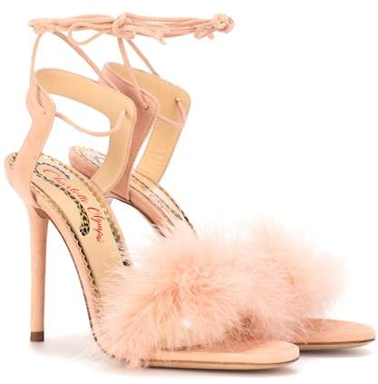 Charlotte Olympia Salsa 110 feather-trimmed suede sandals