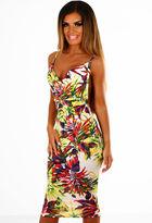 Pink Boutique Arizona Sunset Multi Tropical Print Slinky Bodycon Midi Dress