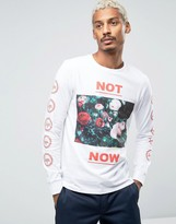 Hype Long Sleeve Tee With Floral Statement And Sleeve Print