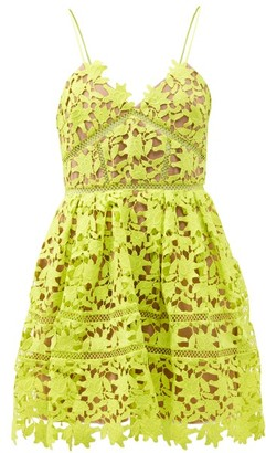 Self-Portrait Azaelea Guipure-lace Mini Dress - Green