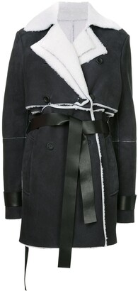 Unravel Project shearling double trench coat