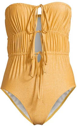 Solid And Striped The Paula Ruched Tie-Front One-Piece Swimsuit