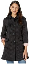 Kate Spade Chevron Quilted Piping Coat (Black) Women's Coat