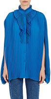 Balenciaga Women's Pleated Crepe Blouse-BLUE