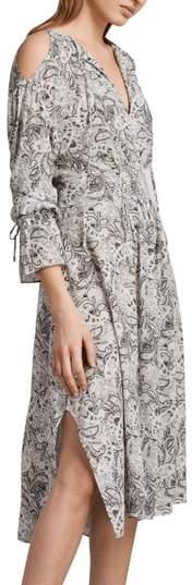 AllSaints Lavete Paisley Cold Shoulder Midi Dress