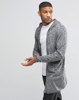 Lindbergh Open Cardigan With Hood In Gray