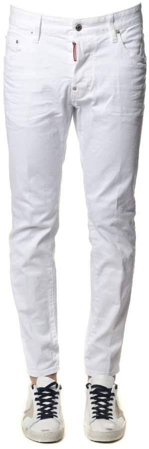 DSQUARED2 White Bull Skater Cotton Jeans