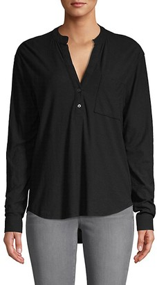 James Perse Split-Neck Cotton-Blend Top