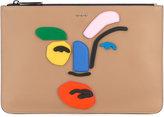 Fendi embellished face clutch - men - Leather - One Size