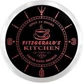 AdvPro Clock ncpc1417-r FITZGERALD's Coffee Kitchen Bar Neon Sign LED Wall Clock