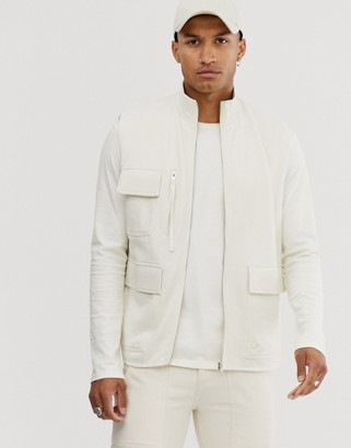 Asos Design DESIGN jersey utility gilet in off white-Beige