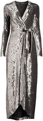 BCBGMAXAZRIA Velvet Ruched Midi Wrap Dress
