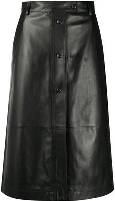 Simonetta Ravizza A-line leather skirt