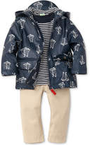 Little Me 3-Pc. Hooded Boat-Print Jacket, Striped T-Shirt & Pants Set, Baby Boys