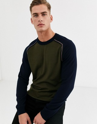Ted Baker merino wool jumper with stripe in grey