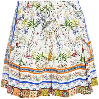 Camilla Lace-up Printed Silk Crepe De Chine Shorts