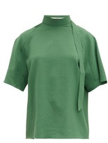 Tibi Chalky Tie-neck Crepe Top - Womens - Green
