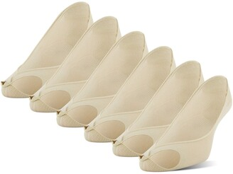 Peds Women's Extreme Low Cut Peep Toe Liner 6 Pairs