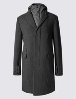 Marks And Spencer Knit Fabric Top Coat With Zip-out Hood Detail