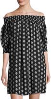 philosophy 3/4-Sleeve Off-the-Shoulder Dress, Black Pattern