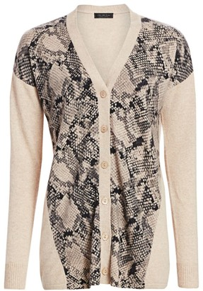 Saks Fifth Avenue COLLECTION Snakeskin Print Cashmere Cardigan