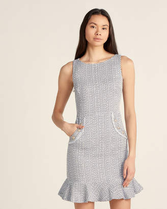 Karl Lagerfeld Paris Blue Tweed Hip Pockets Dress
