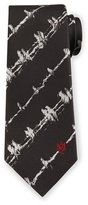 Alexander McQueen Barbed Wire Print Silk Tie, White/Black
