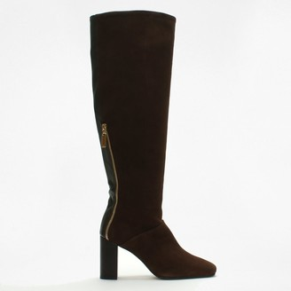 Stuart Weitzman Boyd Brown Suede Zipper Knee Boots