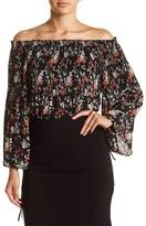 Max Studio Floral Pleated Off-the-Shoulder Blouse