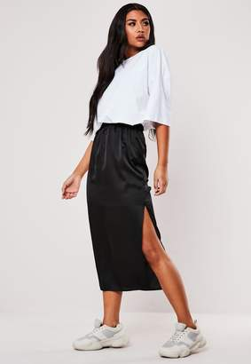 Missguided Tall Black Satin Slip Midi Skirt