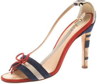 Chanel Tricolor Striped Suede Bow Detail CC Cork Heel Open Toe Sandals Size 36.5