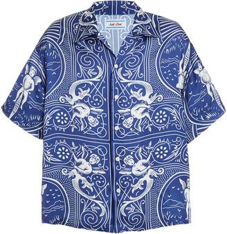 JUST DON Dealers Card Printed Silk Shirt