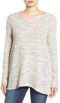 Caslon Handkerchief Hem V-Neck Sweatshirt (Petite)