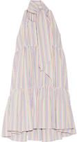 Lisa Marie Fernandez Tiered Striped Seersucker Mini Dress - White