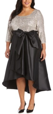 R & M Richards Plus Size Sequin-Top High-Low Dress